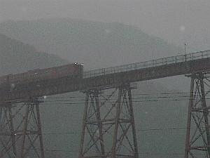 宿から見た餘部鉄橋