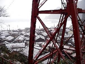鉄橋越しに見る日本海