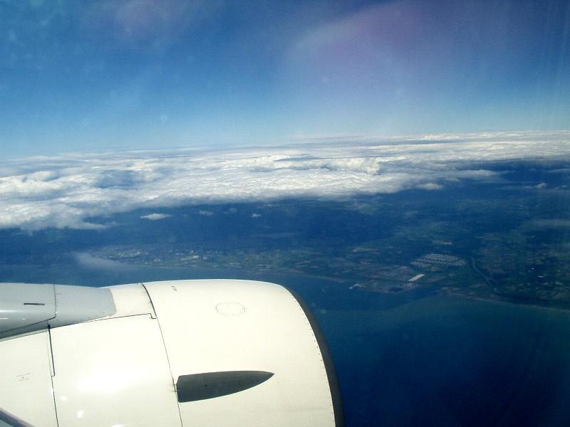 眼下に北海道が見える